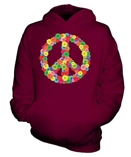Candymix Friedenszeichen CND Blumen Frieden Unisex Kinder Jungen/Mädchen Kapuzenpullover, Größe 9-11 Jahre, Farbe Burgunderrot -