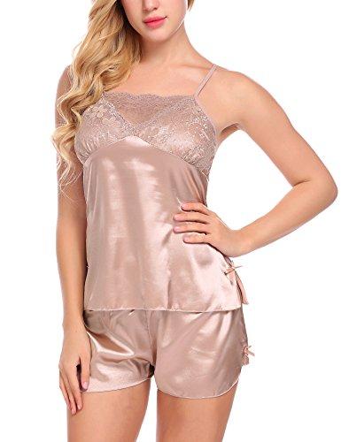 Untlet Damen Nachthemd Sexy Satin Dessous Set Nachtwäsche Negligee mit Shorts Zweiteilige Reizwäsche Lingerie Nachthemd Babydoll Rückenfrei Pyjama mit Spitze