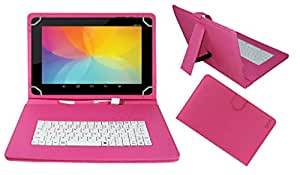 Acm Premium Usb Keyboard Case For Datawind Ubislate 3g10z Tablet Cover Stand With Free Micro Usb Otg - Pink
