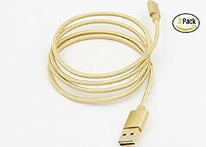 Giant star 3ft Nylon Braided Apple USB Cable for iPhone 5, 5c, 5s, 6, 6 Plus, 6s, 6s Plus,iPad 4, iPad Air 1/2, iPad Mini 1/2/3 (3 pack Gold)