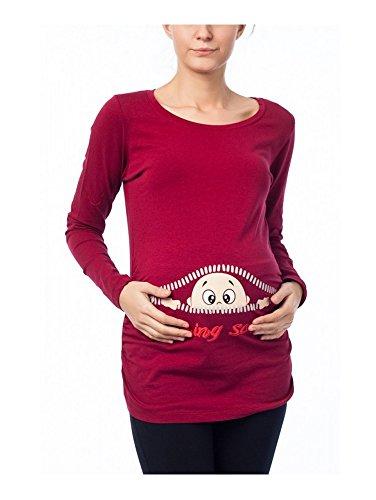 Coming Soon - Lustige witzige süße Umstandsmode / Sweatshirt Umstandsshirt mit Motiv für die Schwangerschaft / Schwangerschaftsshirt, Langarm Weinrot