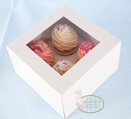 5 x Cupcake Box with Window for 4 Cupcakes Muffins Mince Pies Cup Cakes & Inner Tray ** 4 DEEP ** by General Trading Store