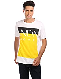 LNDN HOUR Half Sleeves New Stylish Chest Print Round Neck Cotton Tshirt, Latest High Quality Fashion Garments For Mens / Boys. Light Weight White Colour