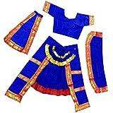 AsurOn Bharatnatyam Costume Dress For Kids & Adults(Green, Orange, White, Red, Blue, Pink & Yellow) (2-20 Years) (Blue, Adult(18+))