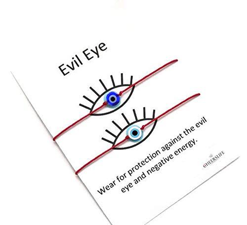 Cheerslife Evil Eye Armband, Wunsch Armband Red String Armband Schutz Armband Baby Geschenk für Frauen Männer Familie Freund Mädchen Jungen 2St