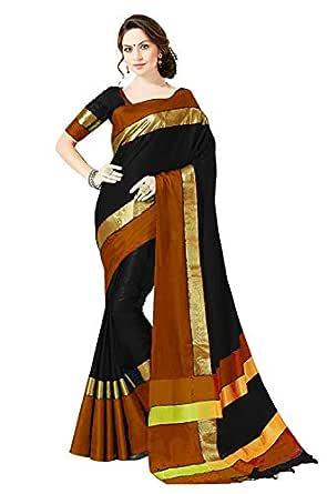 PERFECTBLUE Women`s Cotton Silk saree with Blouse Piece