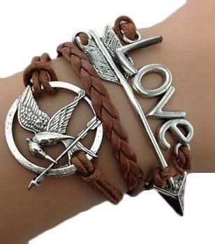 Bracciale braccialetto Infinito infinity Hunger Games freccia tendenza fashion marrone freccia