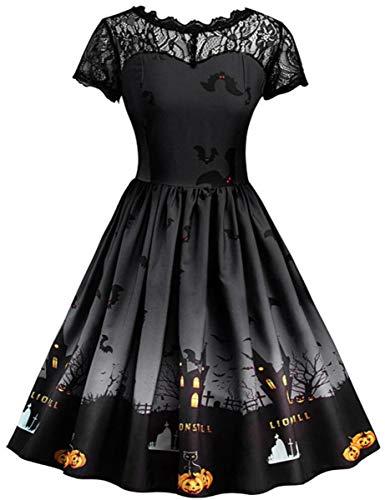 Mescara vestito halloween cosplay costume abito donna corta manica gonna carnevale vintage elegante