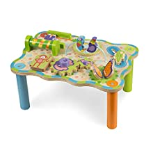Melissa & Doug First Play Jungle Wooden Activity Table, Baby and Toddler Toy, Sturdy Wooden Construction, Helps Develop Fine Motor Skills