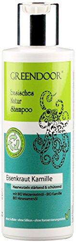 Greendoor Natur Shampoo Eisenkraut 200ml kraftloses Haar, ohne Sulfate/Silikon, basische Haarpflege + BIO Öle natürlich ohne Tierversuche, natural, biologisch abbaubar outdoor geeignet Naturkosmetik - Zitrus Duftende Seife