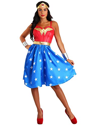 Deluxe Plus Size Long Dress Wonder Woman Fancy dress costume 2X (Plus Kostüm Wonder Woman Size)