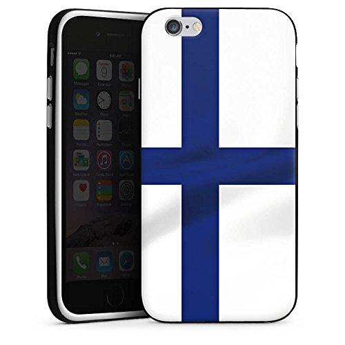 Apple iPhone 5s Housse étui coque protection Finlande Drapeau Drapeau Housse en silicone noir / blanc