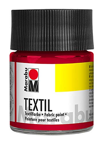 Marabu 17160005032 - Marabu Textil Stoffmalfarbe Stoffdruckfarbe, Wasserbasis, für helle Stoffe, waschbeständig bis 60°C, weicher Griff, einfache Fixierung durch Bügeln o. Backofen, 50 ml, karminrot