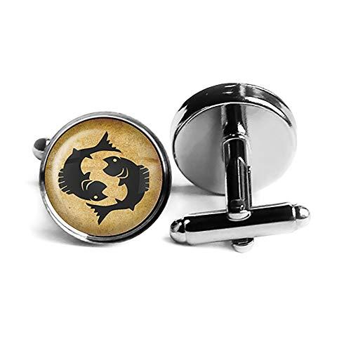 Zodiac Symbol Astrology Pisces Tierkreis Astrologie Fische Rhodium Silber Manschettenknöpfe