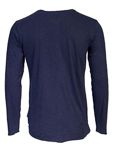 TREVOR'S KJELL Herren Langarmshirt mit Rundhalsausschnitt, Knopfleiste und Leinenstruktur aus 100% Baumwolle - soziale fair trade Kleidung, Mode vegan und nachhaltig Color midnight, Size S - 2