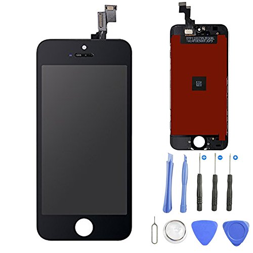 ür iPhone 5S/ SE Schwarz, LCD Touchscreen Digitizer Front Komplettes Glas Display Retina Reparatur Ersatz Bildschirm für iPhone 5s Schwarz (4.7) + Werkzeugset ()