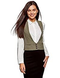 oodji Ultra Mujer Chaleco Clásico con Bolsillos Decorativos
