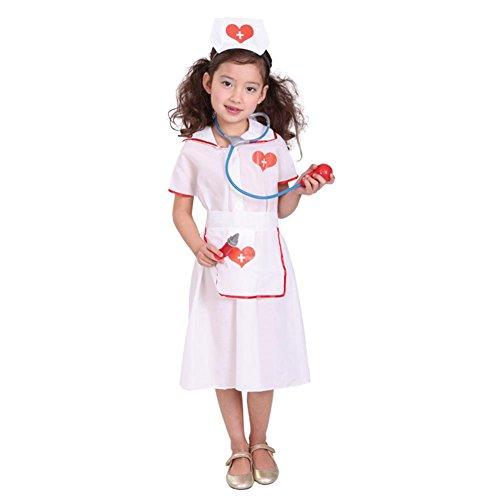 Tongchou Kinder Madchen Krankenschwester Kostum fur Halloween Fasching Karneval Size M (Baby Fledermaus Kostüm Halloween)