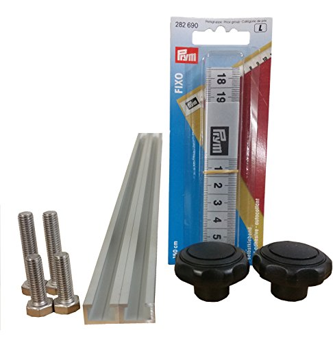 2 Stück à 1m Aluminium C-Profil + Maßband + Sterngriffmuttern M8 + Schrauben / Alu C Profil