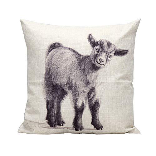 iHome Kissenbezug Dekorative Case Tier, Baumwolle Leinen, Platz 45 x 45cm, Niedlich Lamm Schaf (Schwarz)