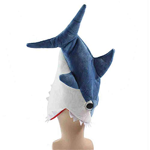 TERROR PARTY Halloween lustige Originalität Aquarium Hai, Piranha Fisch Hut Plüsch Stofftier Stoffmütze Cosplay Mütze für Kinder Erwachsene Geschenk blau -