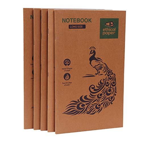 Ecológico Cuadernos A4 (5 Piezas) - (190 x 310 mm) 80 Paginas, Papel Reciclado 3 x Rayas y 2 x Llanura Talla Grande Cuaderno - Para Escuela Estudiantes, Negocio/Oficina Notas y Casa Uso
