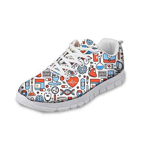 HUGS IDEA Damen Laufschuhe Medizinische Pflege Krankenschwester Turnschuhe Leichte Walking Jogging Gym Outdoor Sportlich Sneaker -EU Größe 39