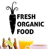 Lettere di alimenti biologici freschi Nero Stickers murali Cucina Decorazioni per la casa Adesivi murali modello di carota Vinile Arte murale Carta da parati fai da te 28x22cm