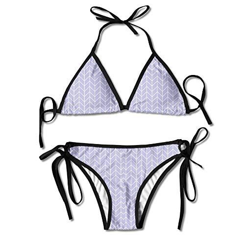 Gold Stripe Bow Tie (Women's Sexy Bikini Set Chevron Gold Mustard Stripe Stripes Fabric Custom Tie 2 Piece Bikini Suits Pushed Up Bathing Swimwear 8)