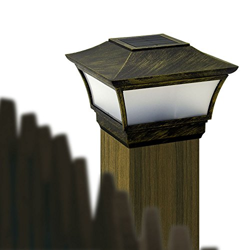 CHEEKON Fences Post Caps Solar Light, Magnesium alloy material, Bronze, Compatible - Fits in any Standard 3.5