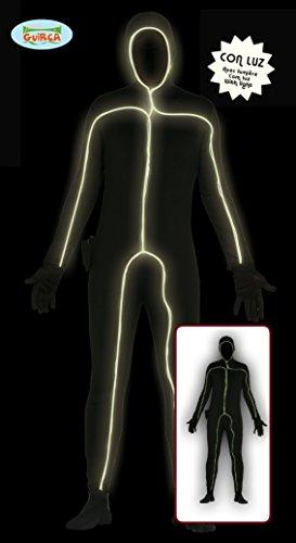 leuchtender Ganzkörperanzug Strichmännchen Kostüm Gr. M/L, Größe:L (Ganzkörperanzug Kostüm)
