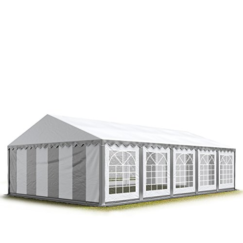 TOOLPORT 5x10 m Tente de réception/Barnum Gris-Blanc Toile de Haute qualité 500g/m² PVC Economy INTENT24