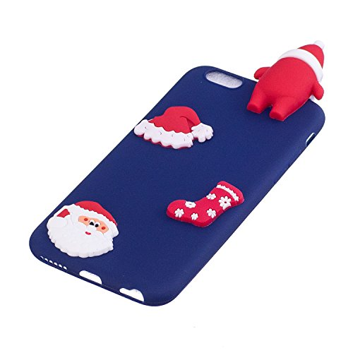 Cover iPhone 6s plus Custodia iPhone 6 plus Silicone Anfire Morbido Flessibile Gel TPU Case per iPhone 6 plus / 6s plus (5.5 Pollici) Ultra Sottile Antiurto Cartoon Protettivo Bumper Shell Ultra Legge Blu Babbo