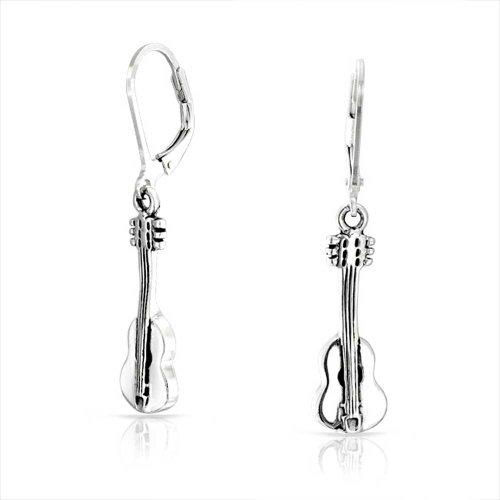 Bling Jewelry Sterling Silber Ohrringe Leverback Musiker Akustik Gitarre