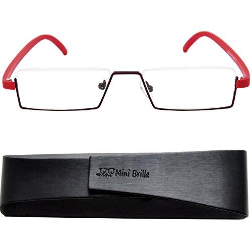 Lunettes de Lecture Légère   Flexible à Monture Demi-Ouverte de Mini Brille    Monture en Acier Inoxydable (Rouge)   Étui à Lunettes à Fermeture  Magnétique ... e5d36ec2886d
