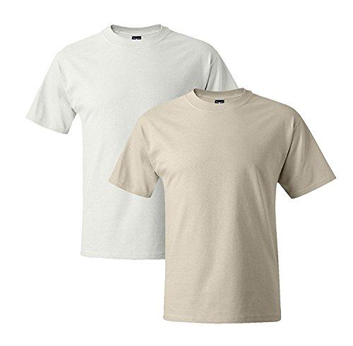 Hanes Mens 5180 Short Sleeve Beefy T, 1 Natural/1 White 1 Natural / 1 White