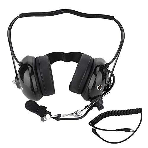 Pilot Aviation Headset, Robustes Zwei-Wege-Funk-Headset H41-CF Hinter dem Kopf liegendes Headset mit CC-Ken-Spiralkabel M-Kabel, Noise Cancelling für Motorola CP100 / CP150 / CP200.(Schwarz) - Electronic Noise Cancelling Aviation Headset