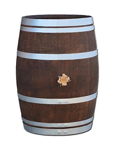 Stehtisch aus Weinfass, Dekofass, Gartentisch aus Holzfass - Fass geschliffen und dunkel palisanderfarben lasiert mit silbernen Ringen