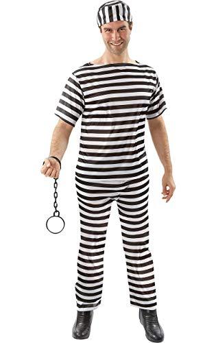 ORION COSTUMES Adult Convict Fancy Dress Costume (Schwarz Und Weiß Gestreifte Gefangene Kostüm)