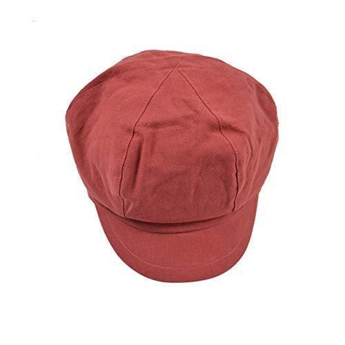 ble Octagon Cap Männer Und Frauen Baumwolle Maler Cap Cap Weiblich British Newsboy Bere Hut (Color : Red, Size : M (56-58cm)) ()