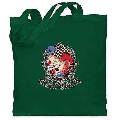 Narren Kostüm Böse - Shirtracer Karneval & Fasching - Crazy clown - Unisize - Dunkelgrün - WM101 - Stoffbeutel aus Baumwolle Jutebeutel lange Henkel