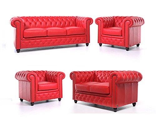 Original Chesterfield Sofas und Sessel – 1 / 1 / 2 / 3 Sitzer – Vollständig Handgewaschenes Leder – Rot