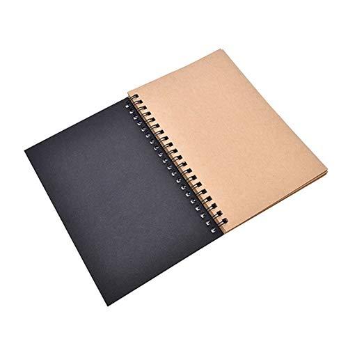 obiqngwi Retro Spiral gebundenes Spulen-Skizzenbuch Leeres Blatt Kunst-Graffiti Notizbuch-Briefpapier - schwarzes Kraftpapier
