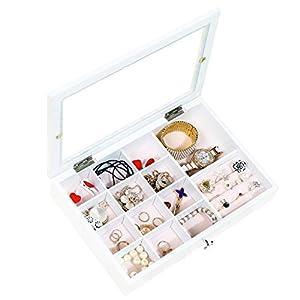 Dainty Schmuckkästchen Weiß Schmuckschatulle Damen Groß mit Glasdeckel Schmuckbox Schmuckkoffer Schmuckkiste für Ohrringe, Halsketten, Armbänder, Uhren, Haarnadeln