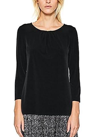 ESPRIT Collection 997eo1k805, T-Shirt à Manches Longues Femme, Noir (Black 001), Medium