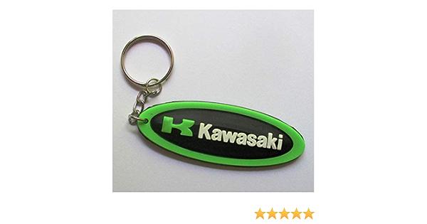 Porte cl/é Moto Kawasaki Oval Noir Tour Blanc Sportive hotrodspirit