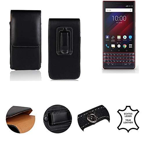 K-S-Trade® Gürtel Tasche Für BlackBerry Key 2 LE Dual-SIM Handy Hülle Gürteltasche Schutzhülle Handy Tasche Schutz Hülle Handytasche Seitentasche Vertikaltasche Etui, Leder Schwarz, 1x