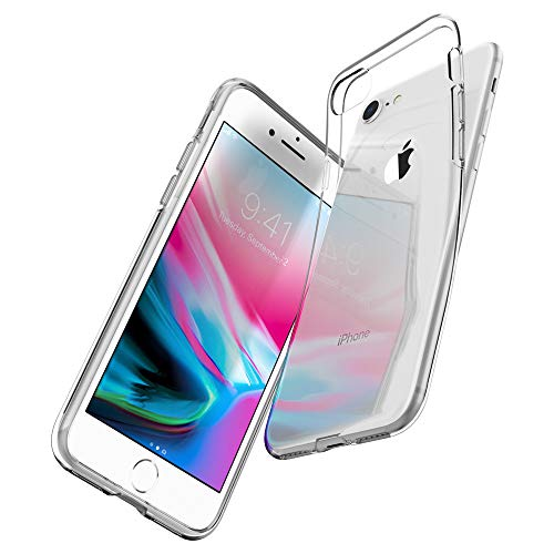 Spigen Coque iPhone 8, Coque iPhone 7, [Liquid Crystal] Ultra Fine TPU Silicone [Crystal Clear] Transparente/Adhérence Parfaite/Anti-Trace, Souple Coque