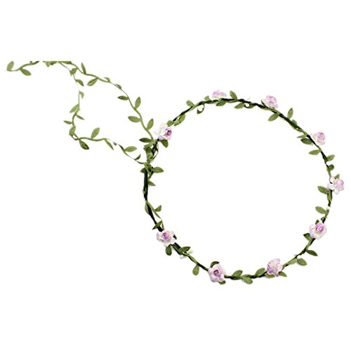 Bandeau-SODIAL(R) Dame Boho Floral Fleurs Festival Mariage guirlande Front Bandeau de cheveux Violet Clair