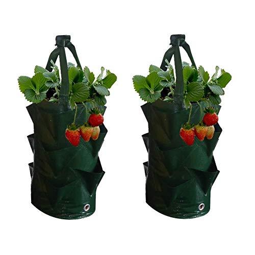 Recipientes para plantas y accesorio Bolsa for macetas de fresas de 3 galones, paquete de 2 macetas colgantes for jardinería, bolsa de cultivo, bolsa de cultivo de fresas, hierbas, flores y hierbas tr
